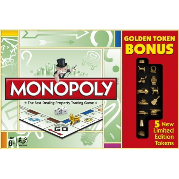 Monopoly Classic Game with 5 New Gold Limited Edition Tokens