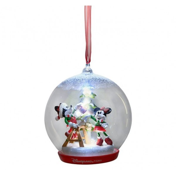 Disneyland Paris Mickey and Minnie Christmas Tree Light-up Ornament