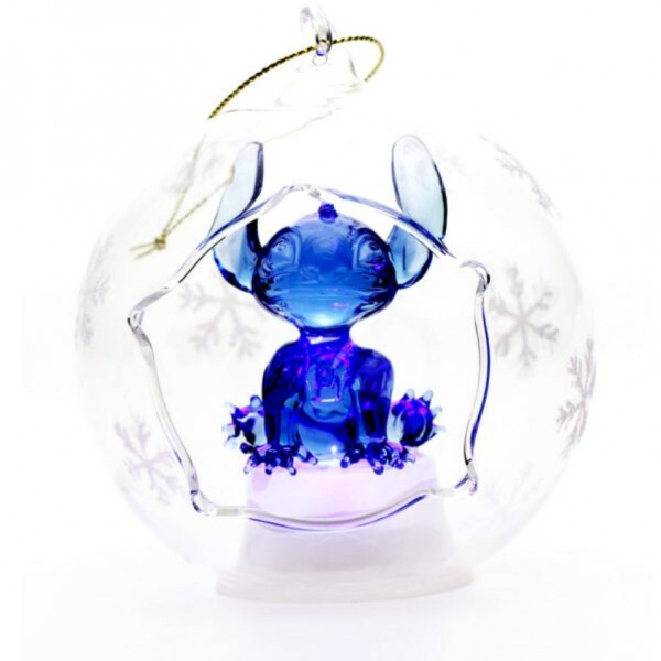 Disney Stitch Illuminated Christmas Bauble, Arribas Glass Collection