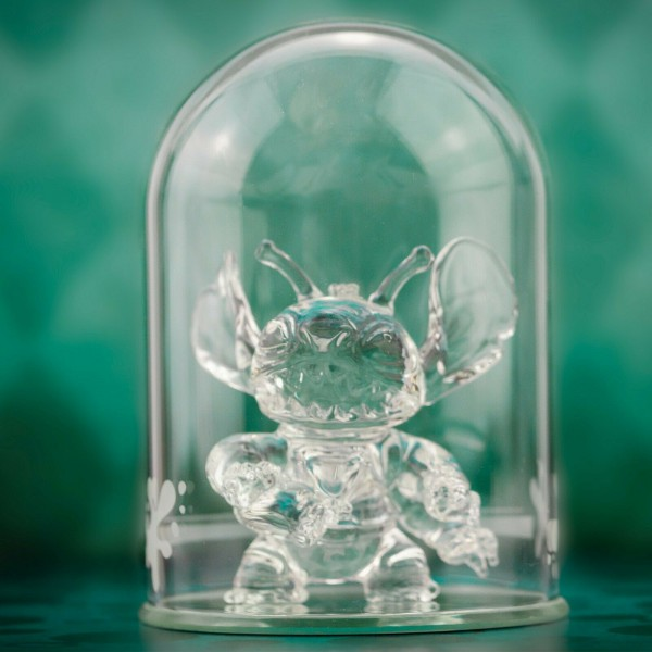 Disney Stitch figure under a Glass Dome, Arribas Glass Collection