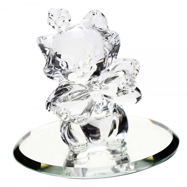 Disney Marie figure on mirror, Arribas Glass Collection