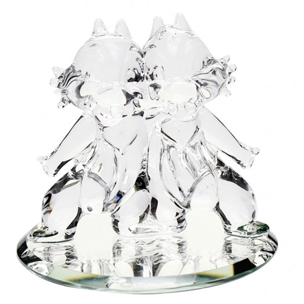 Disney Chip and Dale figure on mirror, Arribas Glass Collection