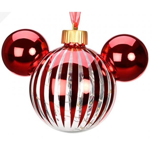 Mickey Mouse Icon Glass red light-up Christmas Bauble Ornament, Disneyland Paris