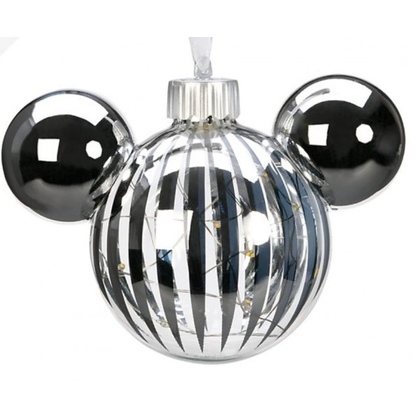 Mickey Mouse Icon Glass Silver light-up Christmas Bauble Ornament, Disneyland Paris