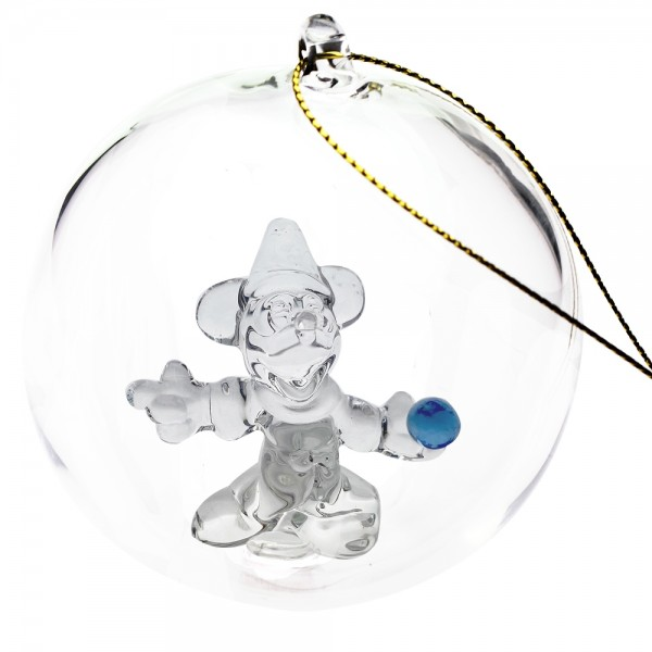 Disney Mickey Sorcerer Christmas bauble, Arribas Glass Collection