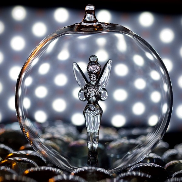 Disney Tinker Bell Christmas bauble, Arribas Glass Collection