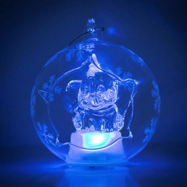 Disney Dumbo Illuminated Christmas Bauble, Arribas Glass Collection