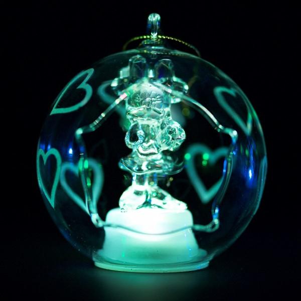Disney Minnie Illuminated Christmas Bauble, Arribas Glass Collection