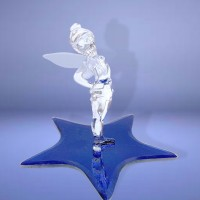 Disney Tinker Bell on a Glass blue star Figure, Arribas Glass Collection