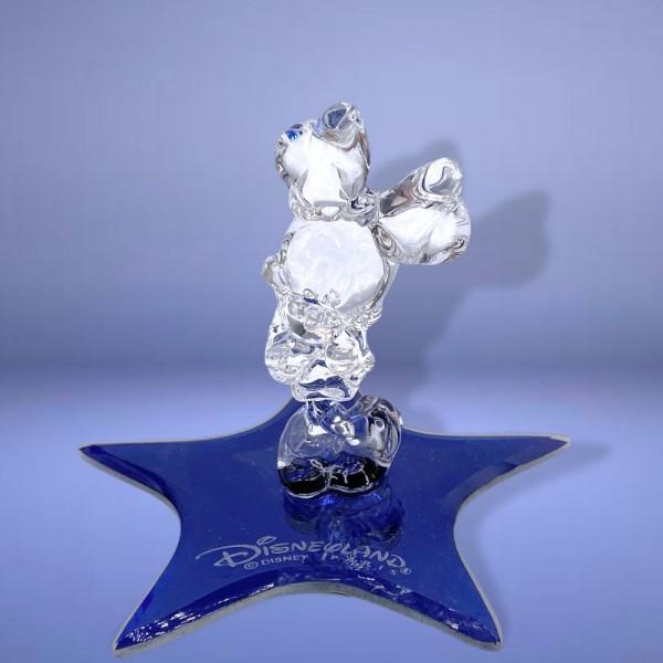 Disney Minnie on a Glass blue star Figure, Arribas Glass Collection
