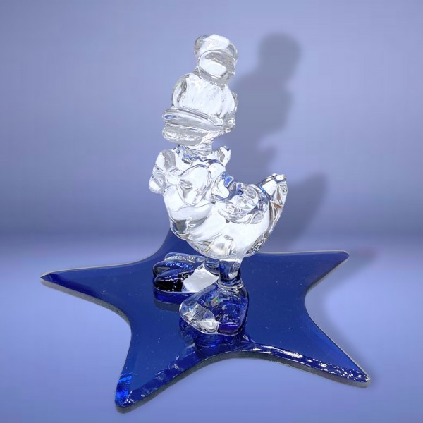 Disney Donald Duck on a Glass blue star Figure, Arribas Glass Collection