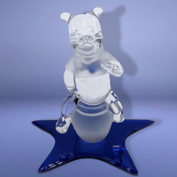 Disney Winnie The Pooh on a Glass blue star Figure, Arribas Glass Collection