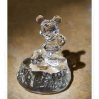 Disney Mickey Mouse on rock glass figure, Arribas Glass Collection