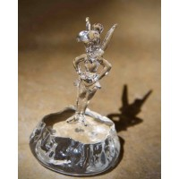 Disney Tinker Bell on rock glass figure, Arribas Glass Collection
