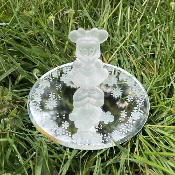 Disney Minnie Mouse glass figurine on her flower mirror, Arribas and Disneyland