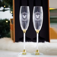 Mickey and Minnie Mouse Icon Champagne flutes set and box, Arribas Glass Collection