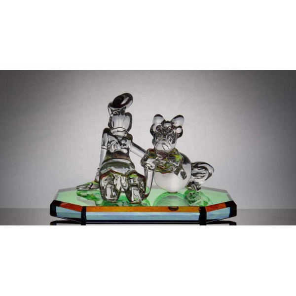 Disney Donald and Daisy glass figure of on mirror, Arribas Glass Collection