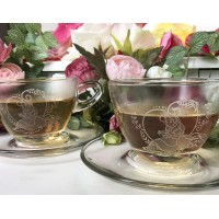 Alice in Wonderland Glass teacup set of 2, Arribas Brothers Collection
