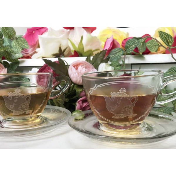 Beauty and the Beast Glass teacup set of 2, Arribas Brothers Collection
