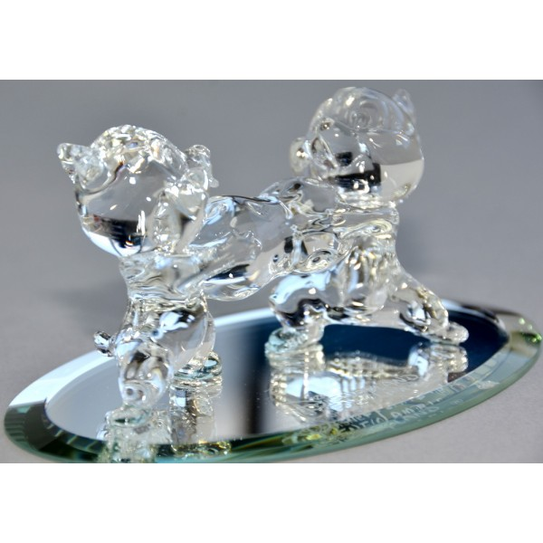 Chip and Dale on mirror figure, Disneyland Paris and Arribas Glass Collection