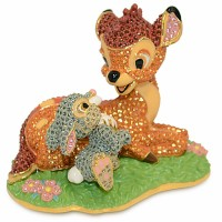 Crystallized Swarovski Bambi and Thumper figure, Arribas Glass Collection