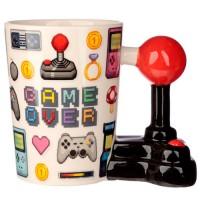 Joystick Shaped Handle Mug with Pixel Decal - Game Over