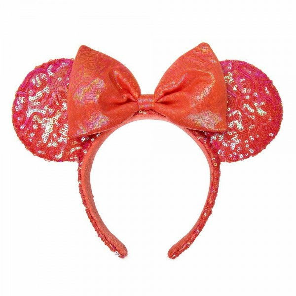 Disneyland Paris Minnie Mouse Sequined Ear Headband in Coral