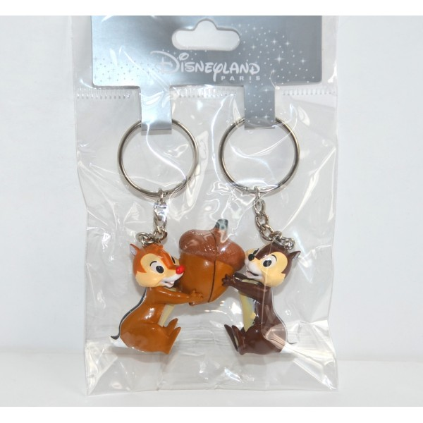 Disneyland Paris Chip and Dale Connecting Keychains Key Ring