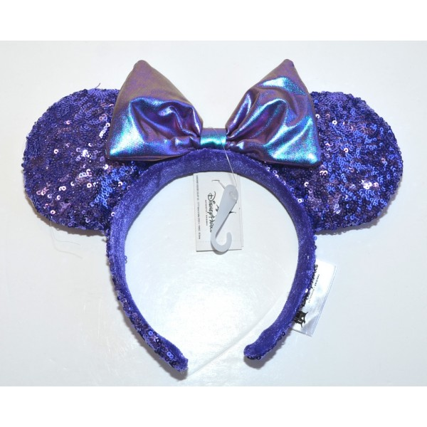Minnie Mouse Ears Headband Purple Sequined, Disneyland Paris