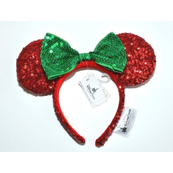 Disneyland Paris Minnie Mouse Christmas red Sequined Ears Headband