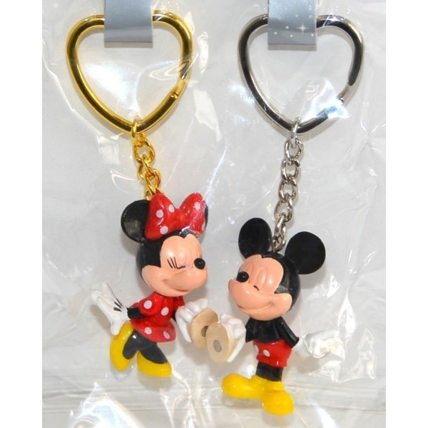 Disney Mickey Minnie Mouse magnetic Keychains Key Ring