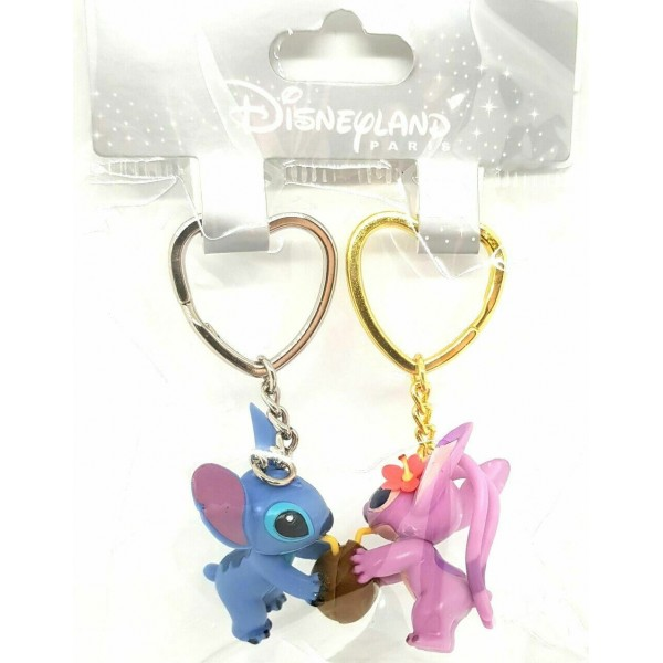 Disneyland Paris Stitch and Angel magnetic Connecting Keychains Key Ring