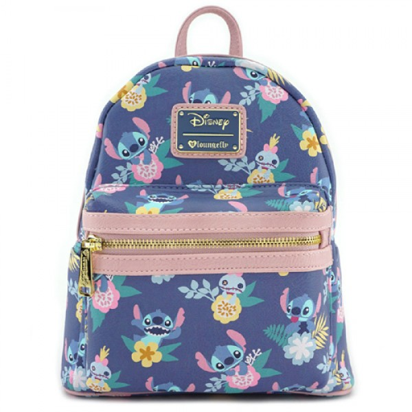 Disneyland Paris Stitch & Scrump Floral Print Mini Backpack by Loungefly
