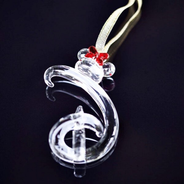 """Hanging letter """"D"""" ornament, Disney and Minnie Mouse icon, Arribas Glass Collection"""