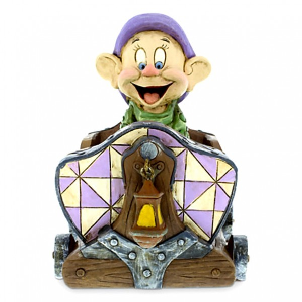 Disney Parks Dopey Mine Cart Train Ride Jim Shore Figurine
