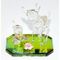Bambi and Thumper on Glass base Figurine, Arribas Glass Collection