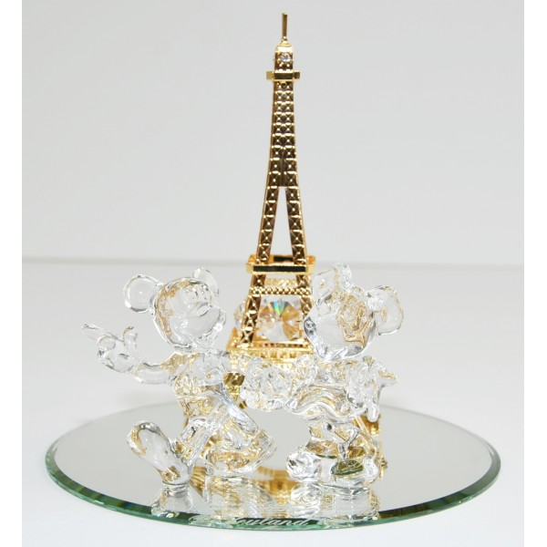 Disneyland Paris Mickey and Minnie Arribas Swarovski Eiffel Tower figure