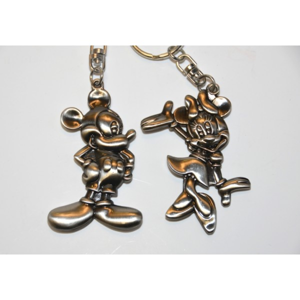 Couple of Mickey and Minnie Key Chain Metal Plate Key Ring