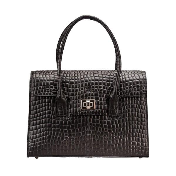 The Fabia Croco - Black Luxury Italian Womens Mock Crock Leather Business Tote Bag - Maxwell Scott