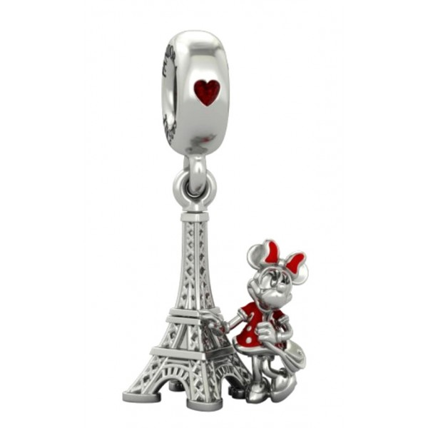 Disney Minnie Mouse next to the Eiffel Tower Charm by Pandora