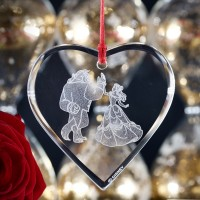 Beauty and the Beast Glass Heart Pendant, Arribas Glass Collection