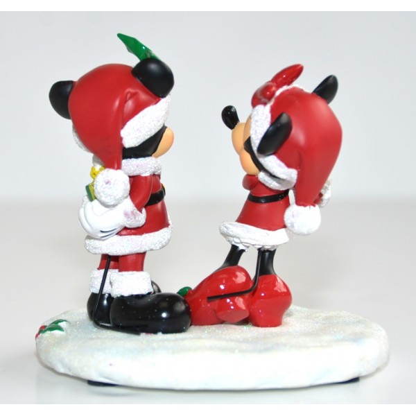 Mickey and Minnie Mouse Christmas Gift Figurine, Disneyland Paris