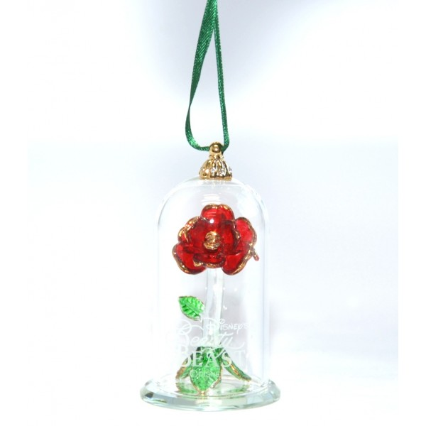 Disney Beauty and the Beast Glass Dome Christmas Ornament, Arribas Glass Collection