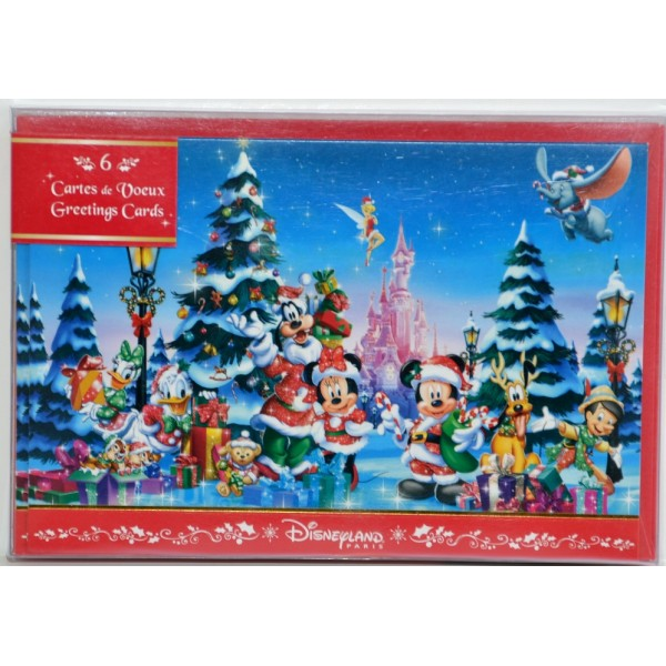 Disneyland Paris Christmas Characters Greeting Postcards set of 6
