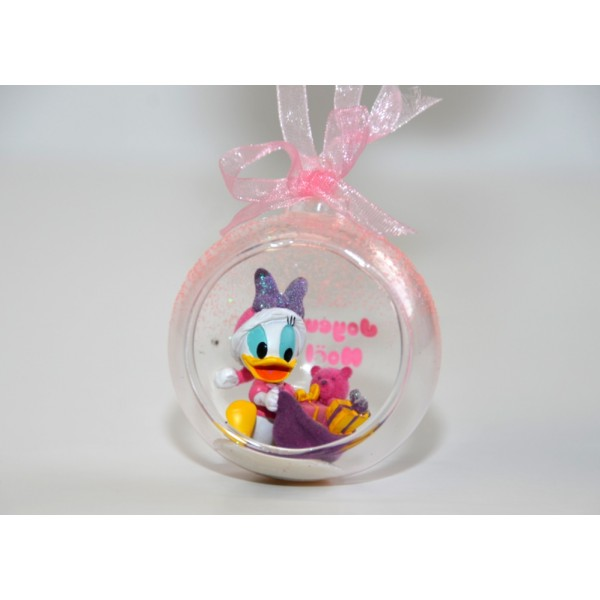 Baby Daisy Duck in a small Christmas bauble, Disneyland Paris