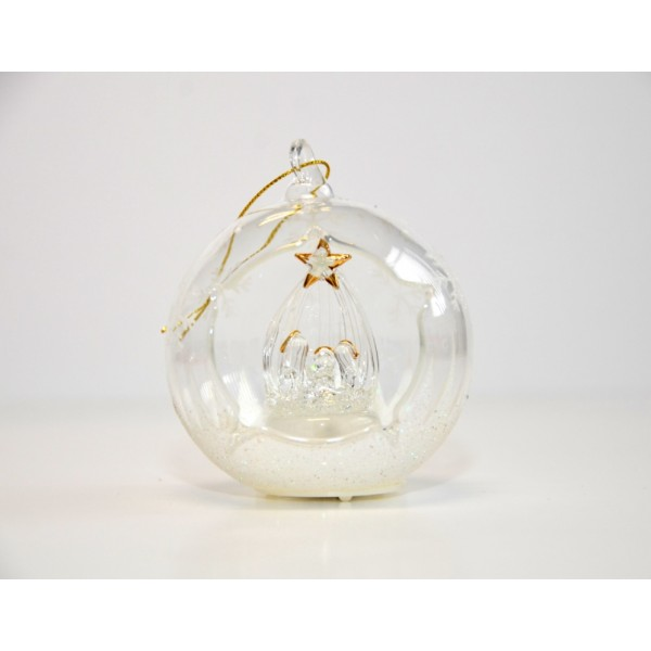 Nativity Light-up Open Glass Christmas Bauble Ornament