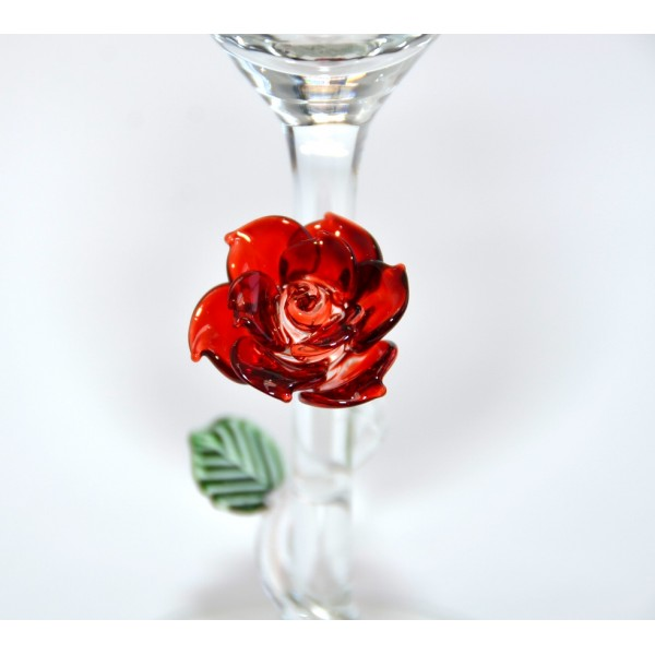 Beauty and the Beast Champagne Glass with Rose