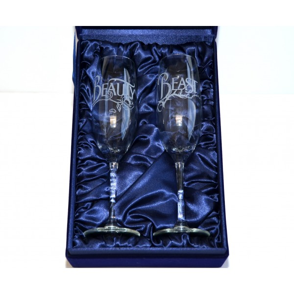 Beauty and the Beast Champagne Glass Set, Arribas glass collection