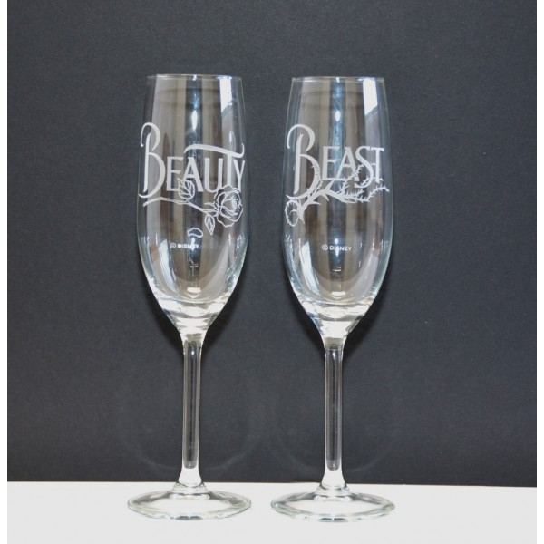 Arribas Beauty and the Beast Champagne Glass Set