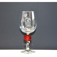 Beauty and the Beast Wine Glass with Rose, Arribas Glass Collection